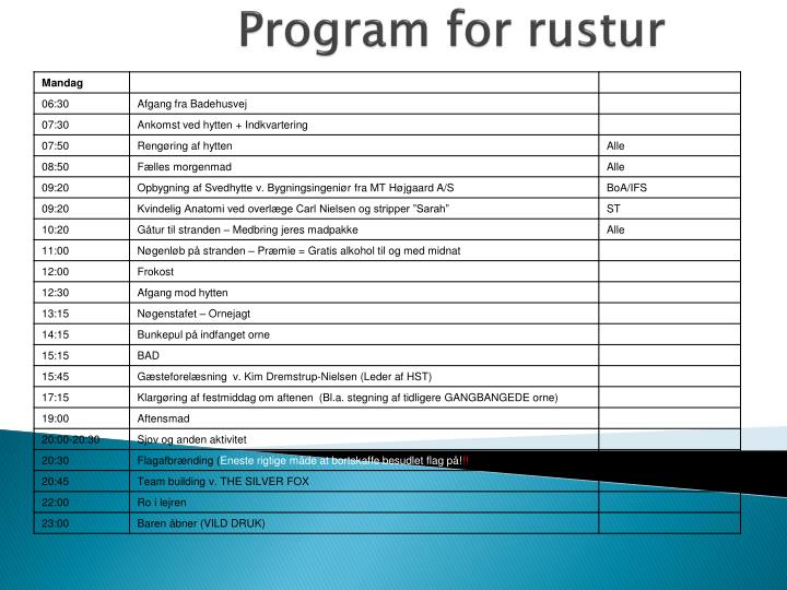 Program for rustur