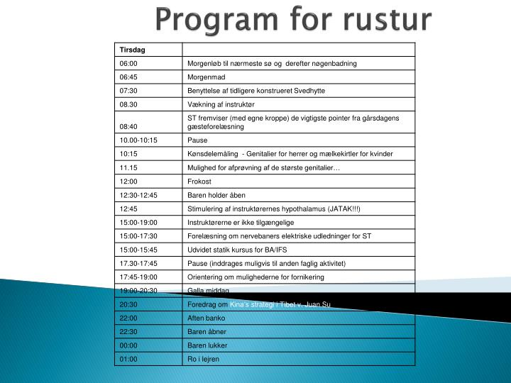 Program for rustur1