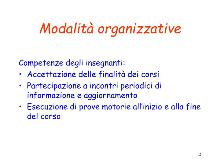 Modalità organizzative