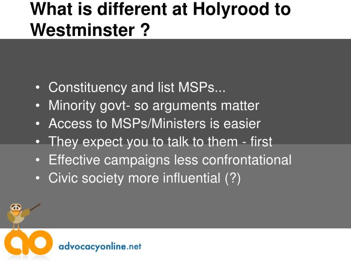 What is different at Holyrood to Westminster ?