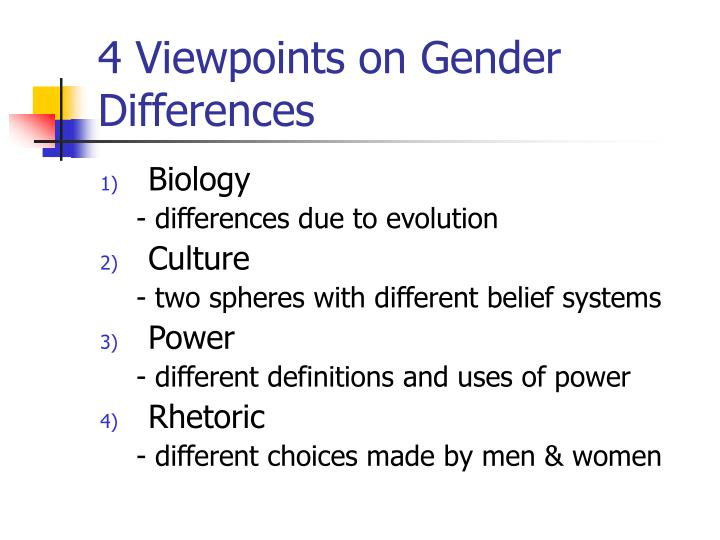 4 Viewpoints on Gender Differences