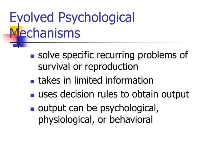 Evolved Psychological Mechanisms