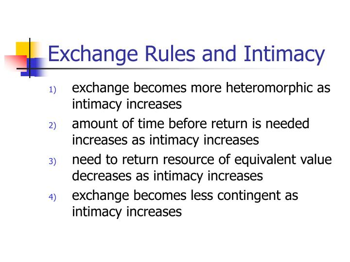 Exchange Rules and Intimacy