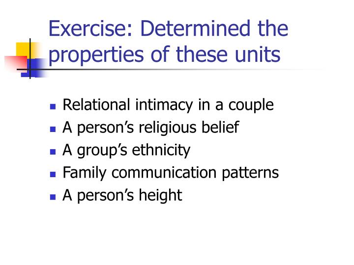 Exercise: Determined the properties of these units
