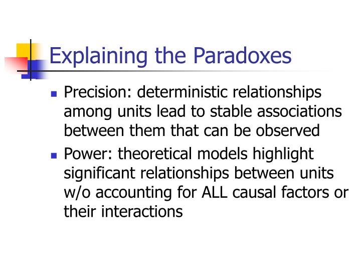 Explaining the Paradoxes