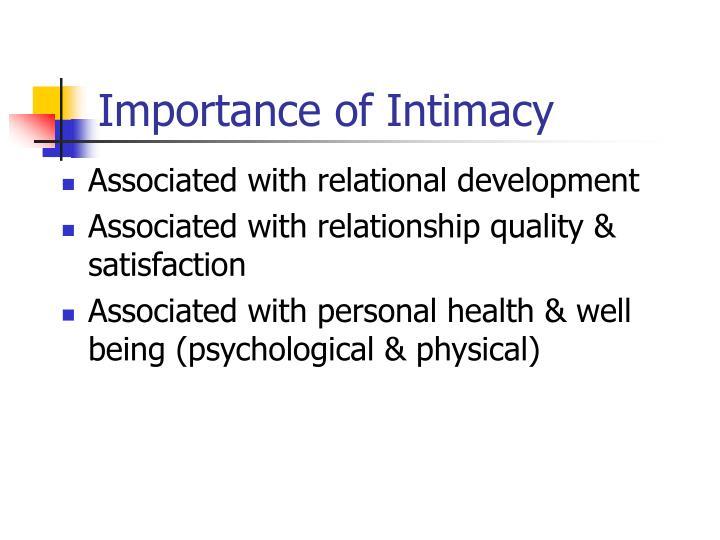 Importance of Intimacy