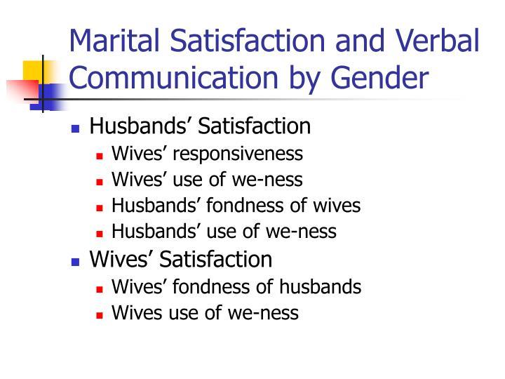 Marital Satisfaction and Verbal Communication by Gender