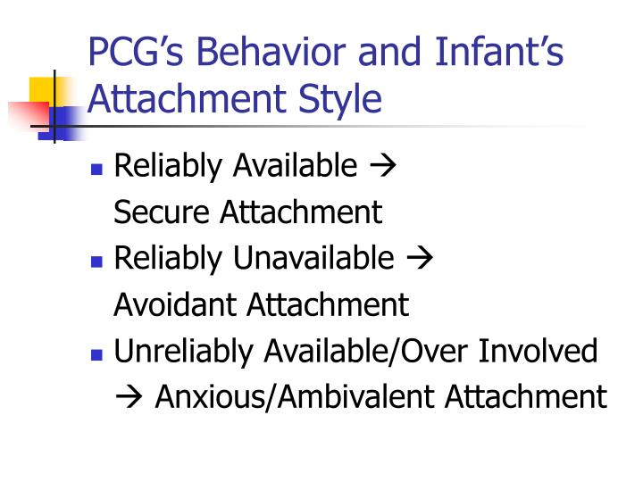 PCG's Behavior and Infant's Attachment Style