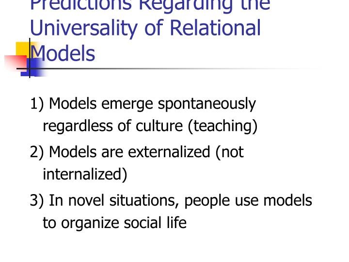 Predictions Regarding the Universality of Relational Models