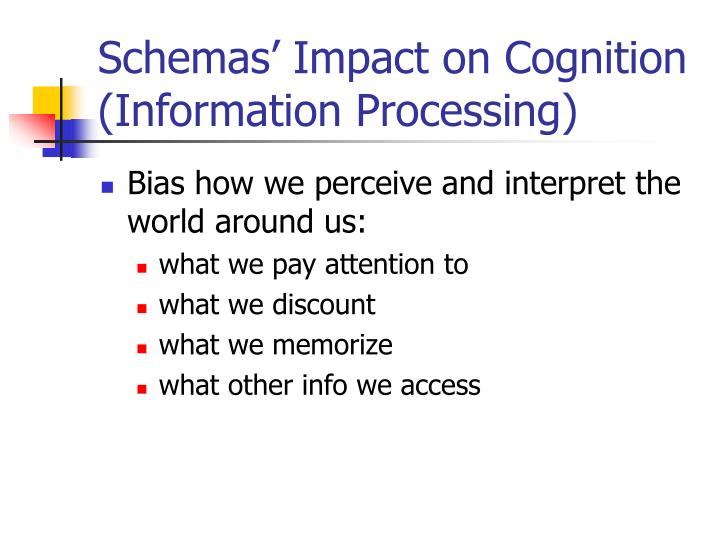 Schemas' Impact on Cognition (Information Processing)