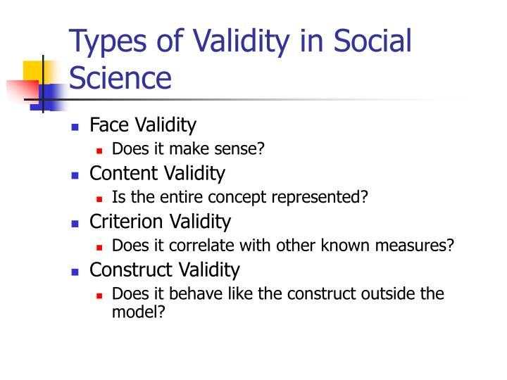 Types of Validity in Social Science