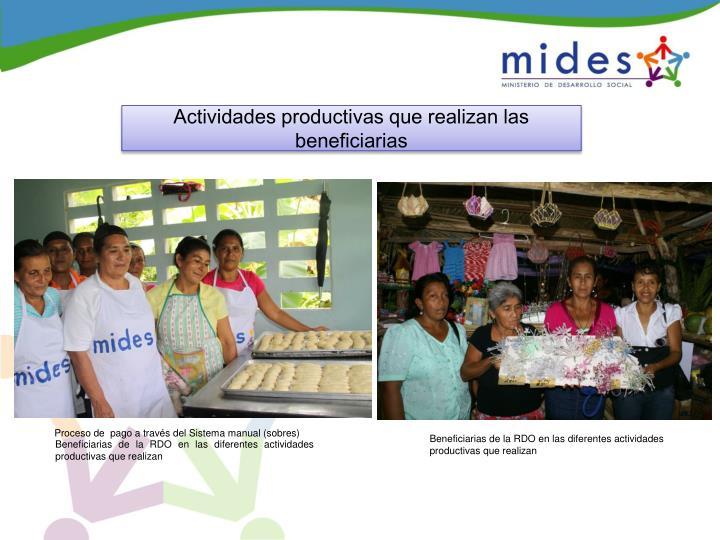 Actividades productivas que realizan las beneficiarias