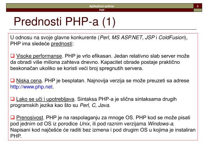 Prednosti php a 1