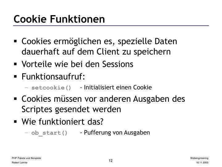 Cookie Funktionen