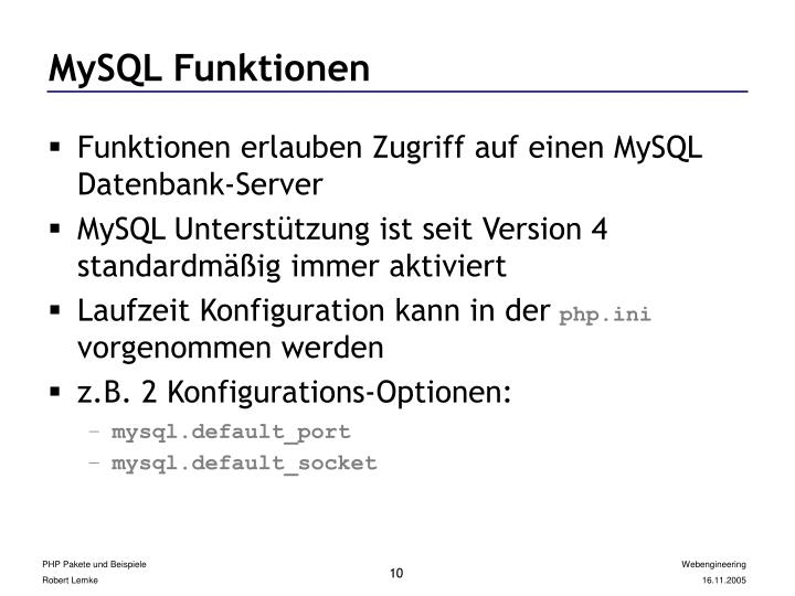 MySQL Funktionen