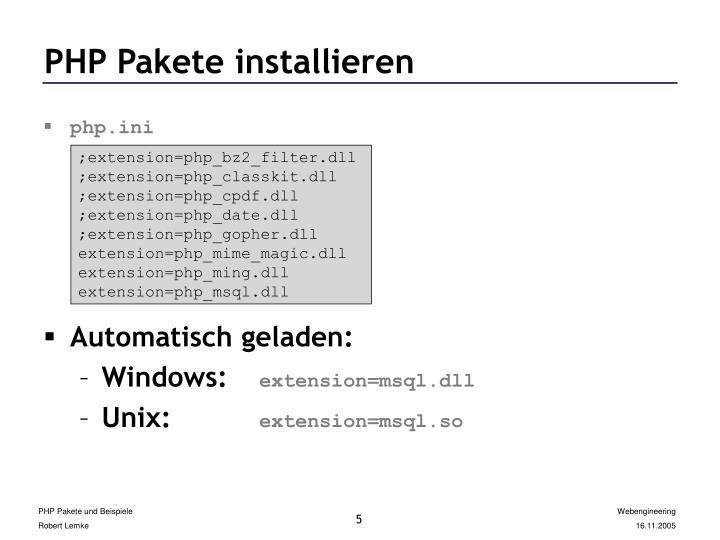 PHP Pakete installieren