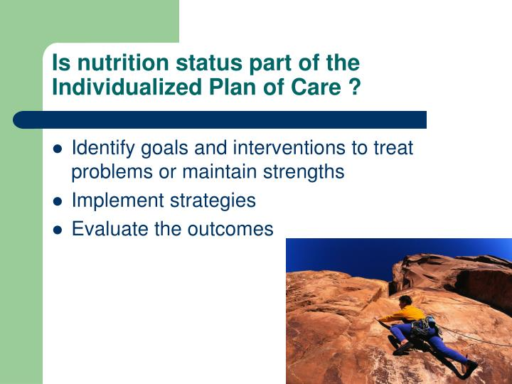 Is nutrition status part of the Individualized Plan of Care ?