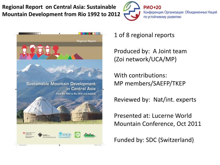 regional report on central asia sustainable mountain development from rio 1992 to 2012 n.