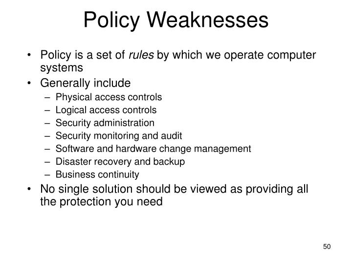 Policy Weaknesses