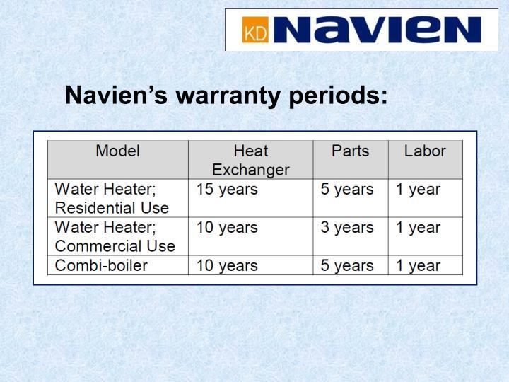 Navien's warranty periods: