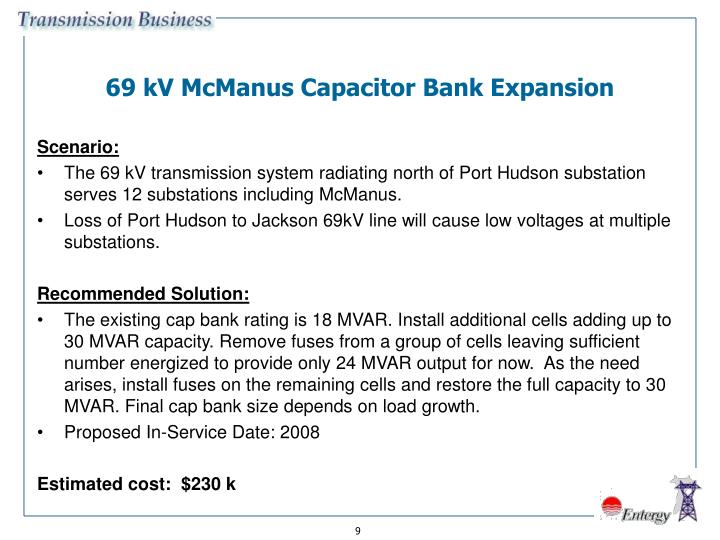 69 kV McManus Capacitor Bank Expansion