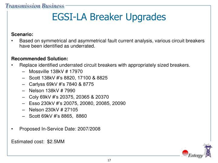 EGSI-LA Breaker Upgrades