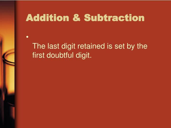 Addition & Subtraction