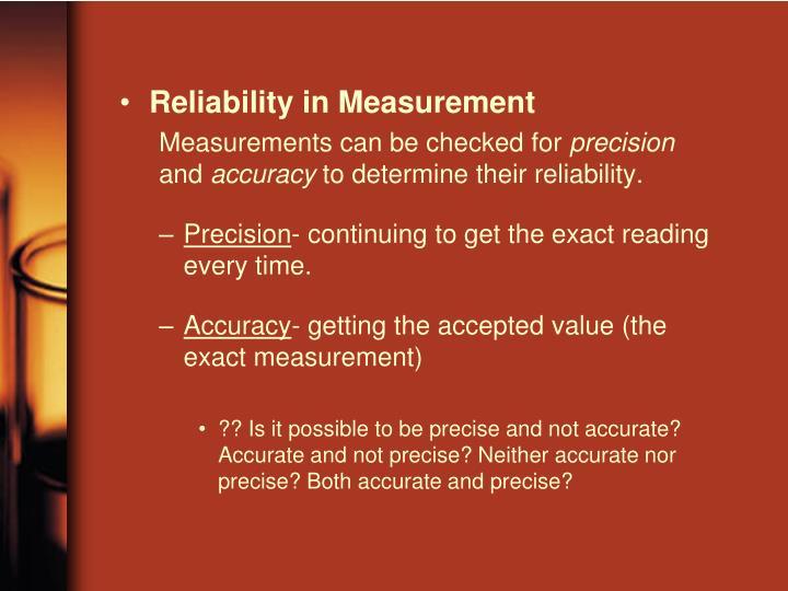 Reliability in Measurement