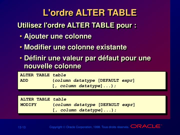 L'ordre ALTER TABLE