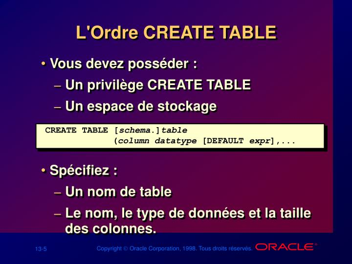 L'Ordre CREATE TABLE