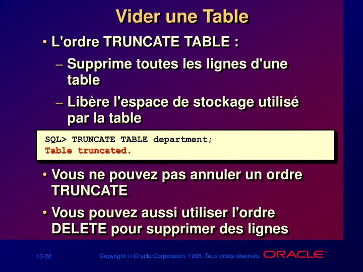 Vider une Table