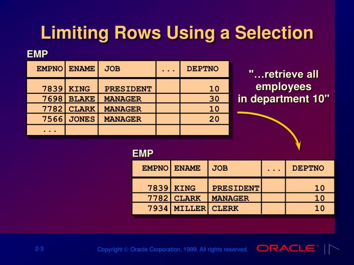 Limiting rows using a selection