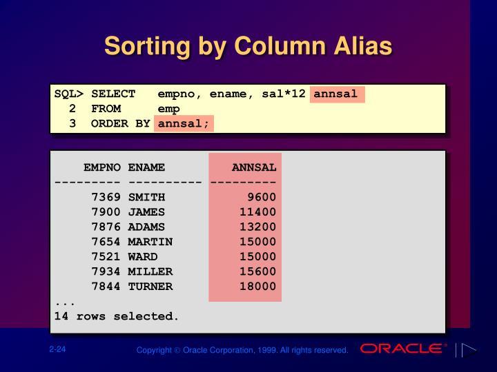 Sorting by Column Alias