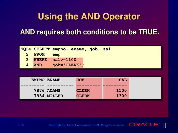 Using the AND Operator