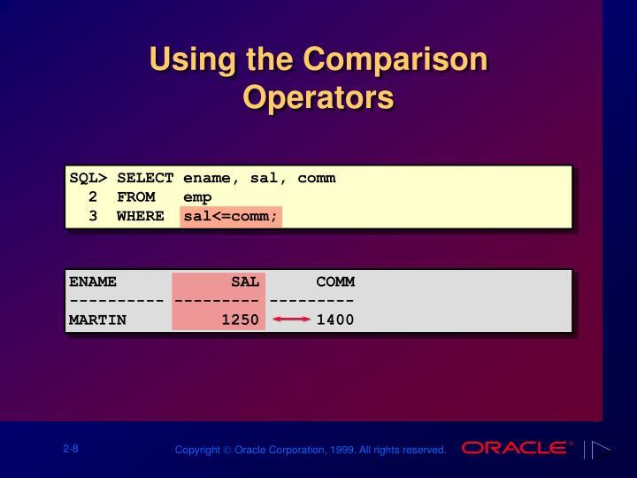 Using the Comparison Operators