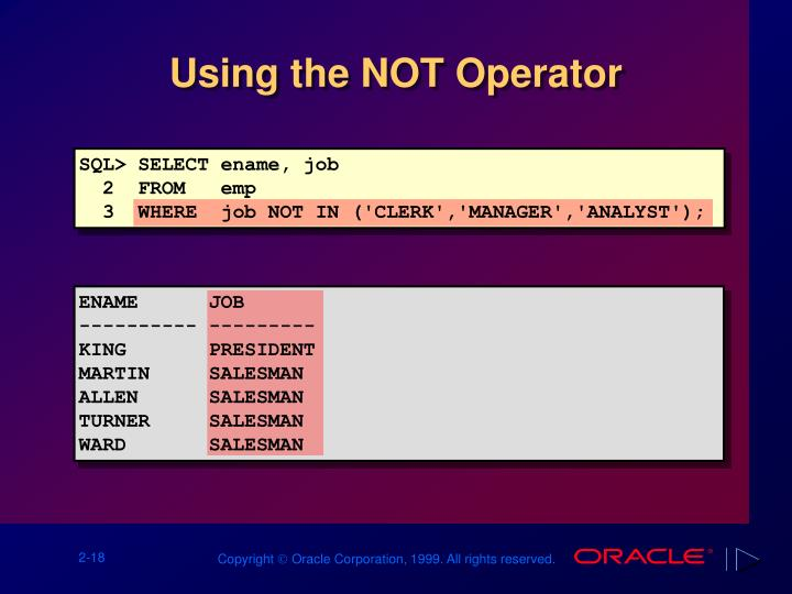 Using the NOT Operator