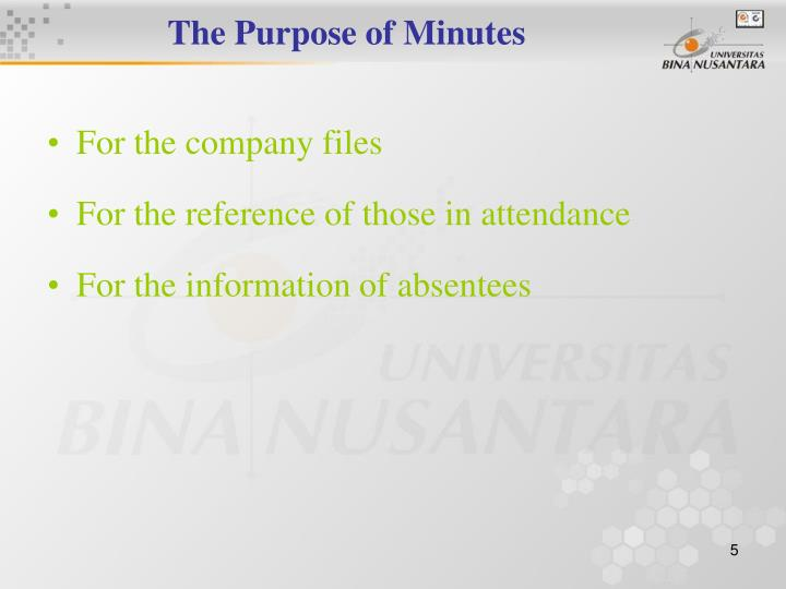The Purpose of Minutes