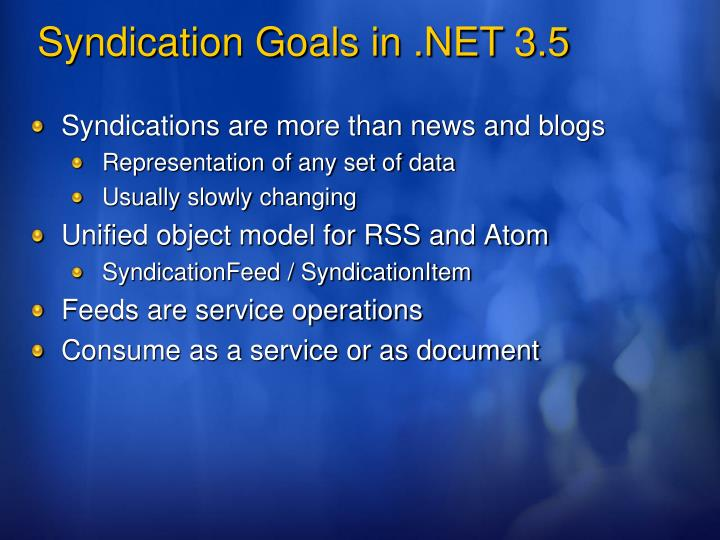 Syndications are more than news and blogs