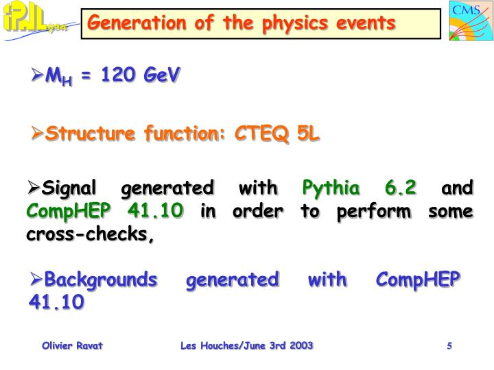 Generation of the physics events