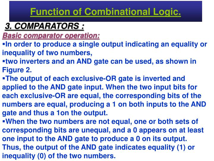 Function of Combinational Logic.