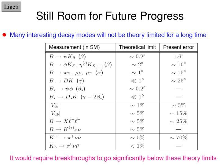 Still room for future progress