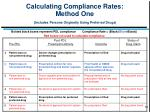 calculating compliance rates method one includes persons originally using preferred drugs