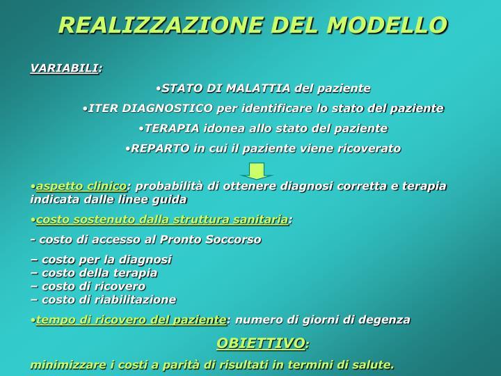 REALIZZAZIONE DEL MODELLO