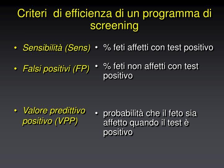 Criteri di efficienza di un programma di screening