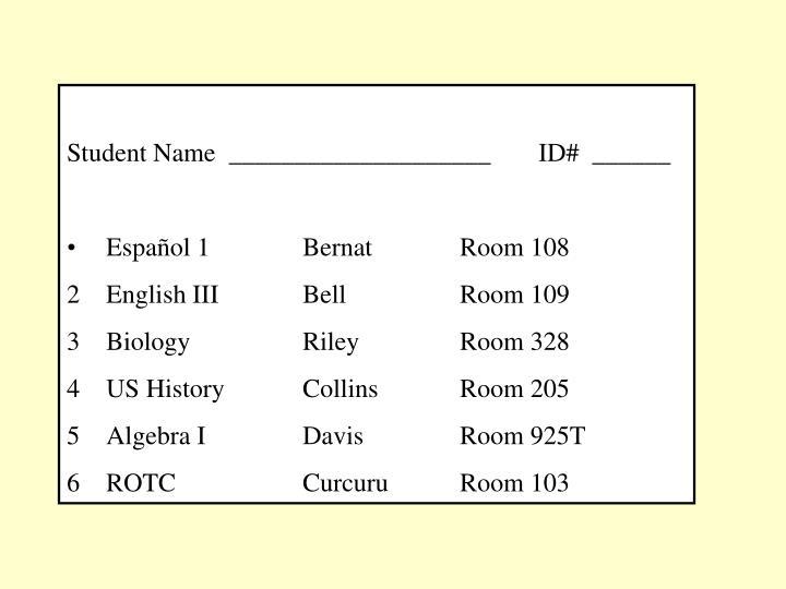Student Name  ____________________ ID#  ______