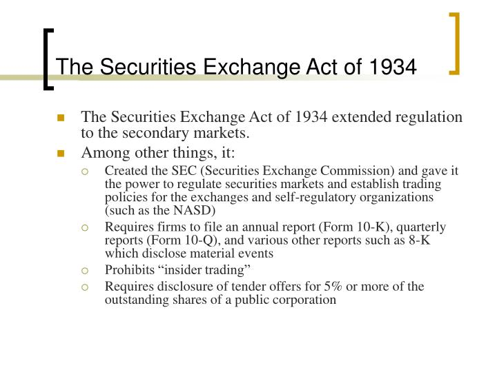 the security exchange act of 1934