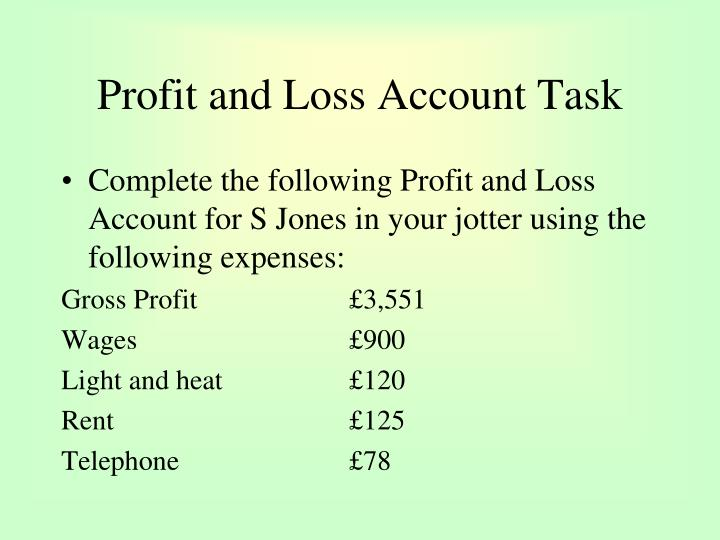Profit and Loss Account Task