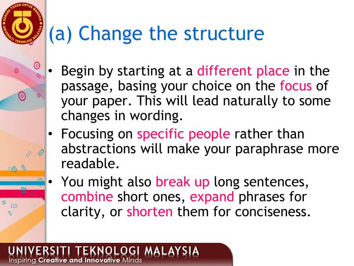 (a) Change the structure