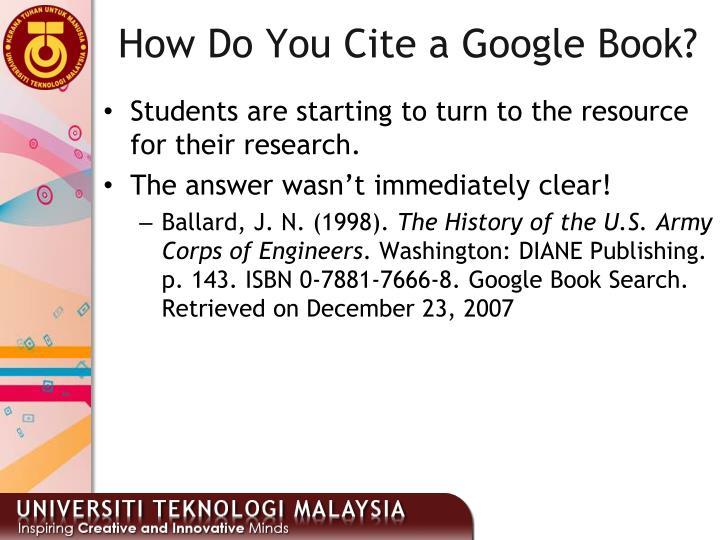 How Do You Cite a Google Book?