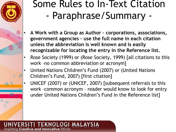 Some Rules to In-Text Citation